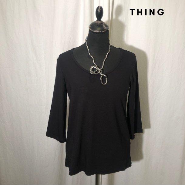 2020 Thing bambus klassisk bluse med 3/4 ærme sort