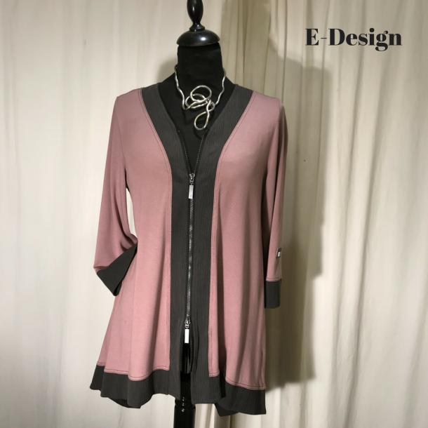 E-Design jakke/bluse med 2-vejs lynlås rosa/gråbrun