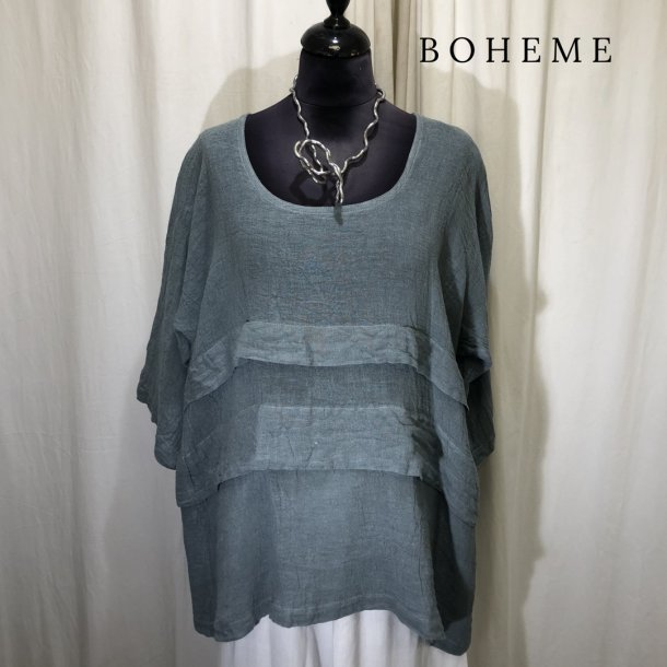 Boheme vifte design bluse lys stålblå