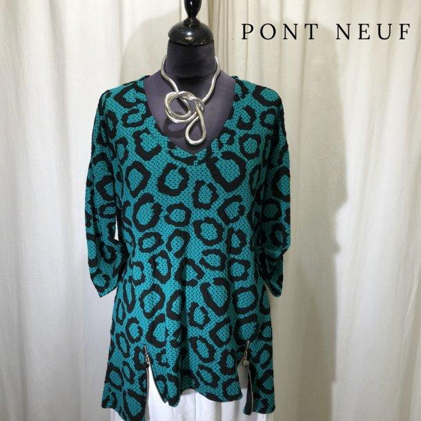 Pont Neuf grafisk bluse med lynlåse græsgrøn/sort