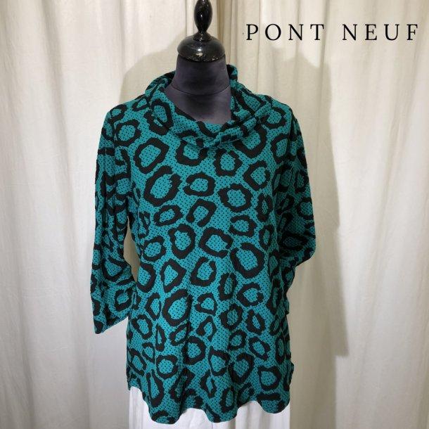 Pont Neuf grafisk bluse med krave græsgrøn/sort