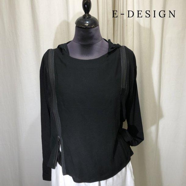 E-Design bluse med hætte og lynlåse sort