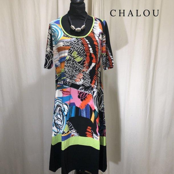 Chalou multifarvet kjole med kort ærme