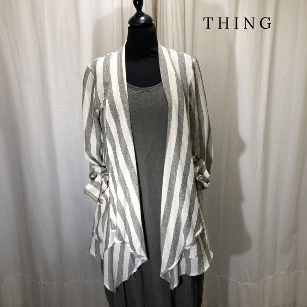 Thing stribet jakke med sjalskrave khaki/natur