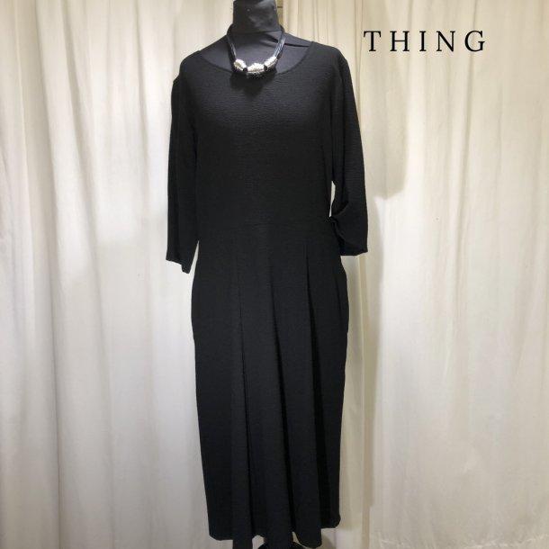 Thing Popcorn kjole med overskæring og 3/4 ærme sort