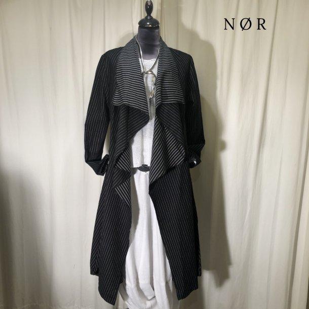 Nör stribet jakke med stor krave sort/hvid