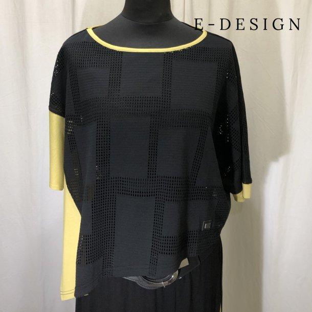 E-Design sammensat kort bred bluse sort/gul