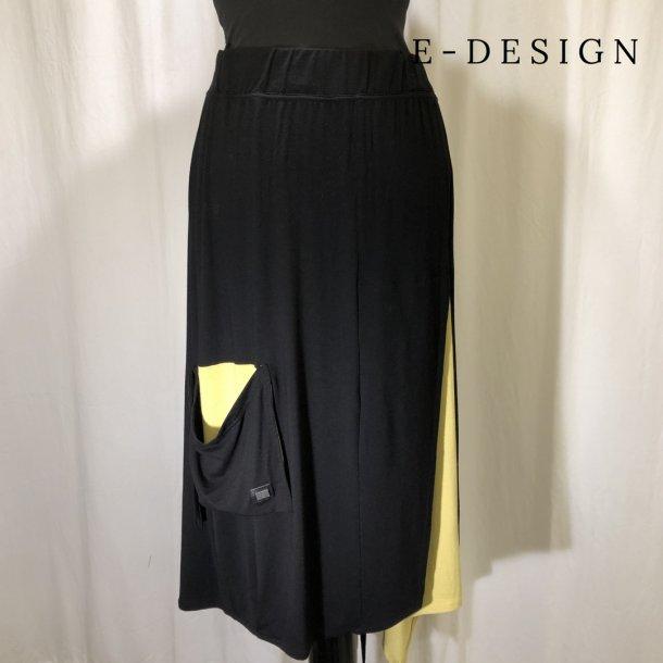 E Design 2 farvet nederdel med bindebånd sortgul