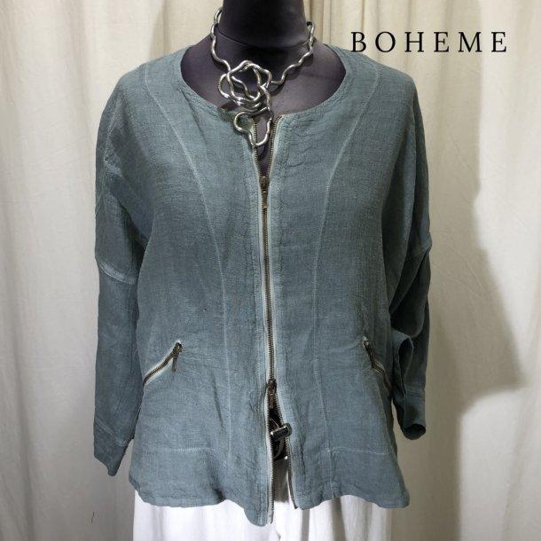 Boheme design jakke med 2-vejs lynlås stålblå