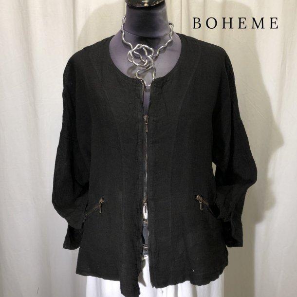 Boheme design jakke med 2-vejs lynlås sort