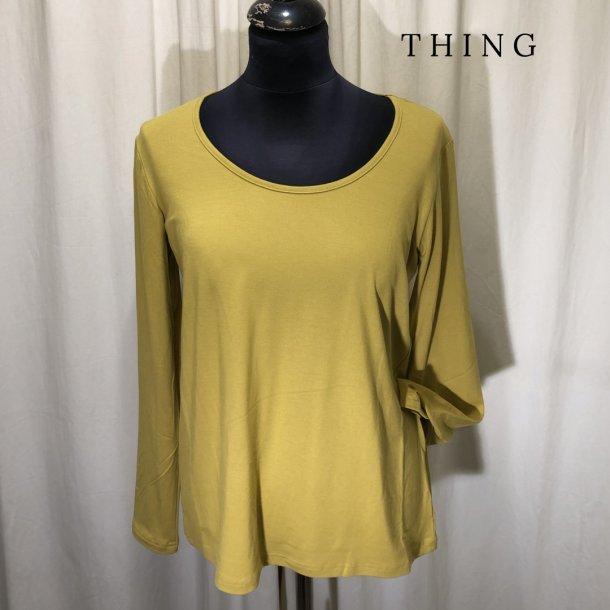 Thing bambus klassisk bluse med langt ærme safran gul
