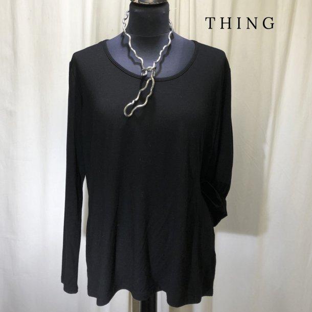 Thing bambus klassisk bluse med langt ærme sort