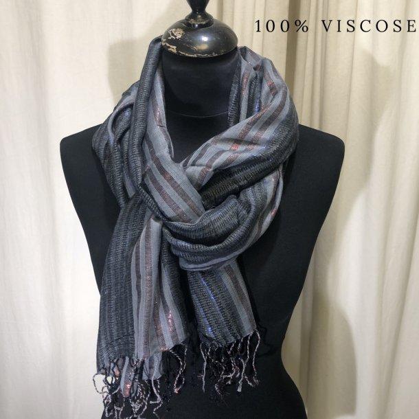 Tørklæde striber grå/sort/kobber (8)