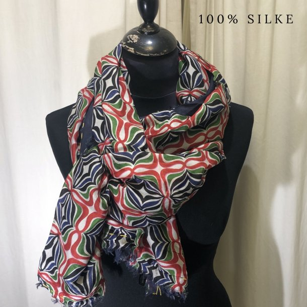 Tørklæde mønster sand/rød/grøn (20)