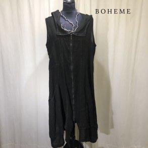 fb87649daaf6 Boheme kjole vest med gennemgående lynlås sort