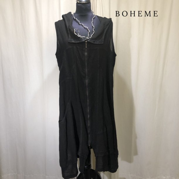 Boheme kjole vest med gennemgående lynlås sort