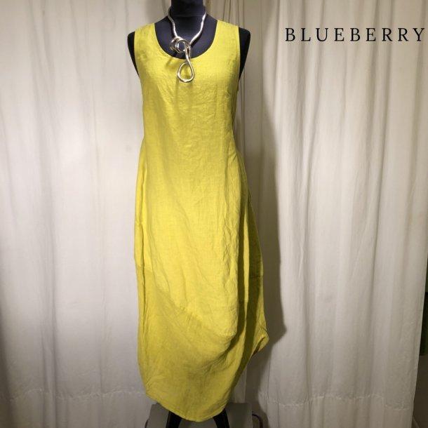 BlueBerry hørkjole med sving forneden limegul
