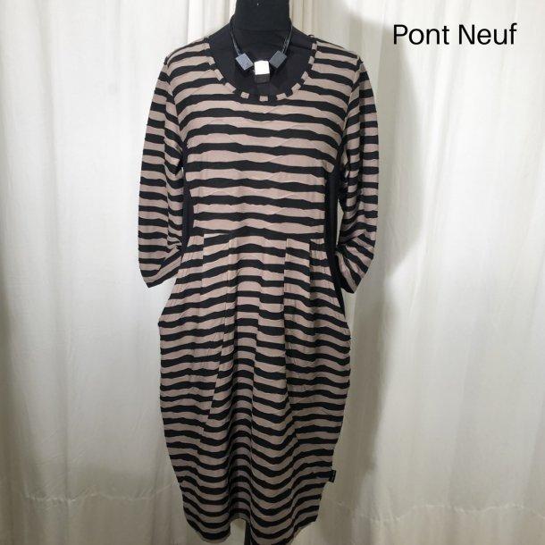 Pont Neuf design kjole med indsat taljestykke brun/sort