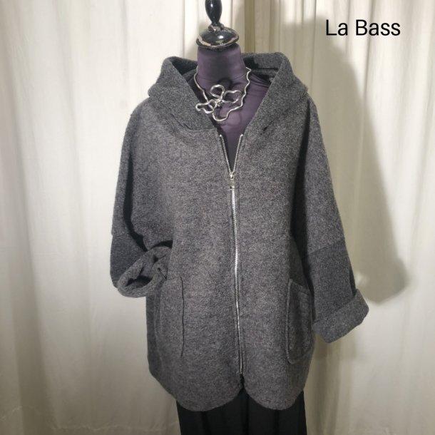La Bass uldjakke med hætte og lynlås antrazit