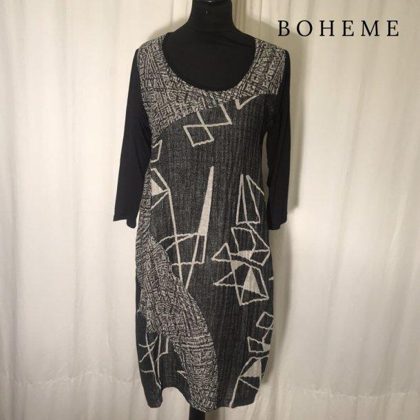 Boheme mønstret kjole sort/sand