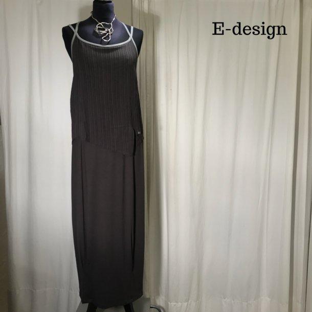 E-design kjole med stropper brun/grå