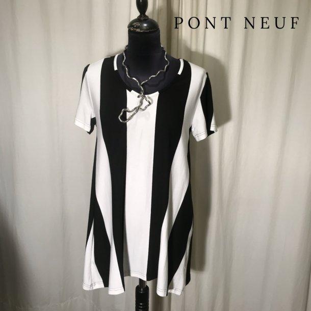 Pont Neuf sort/hvid bluse med kort ærme
