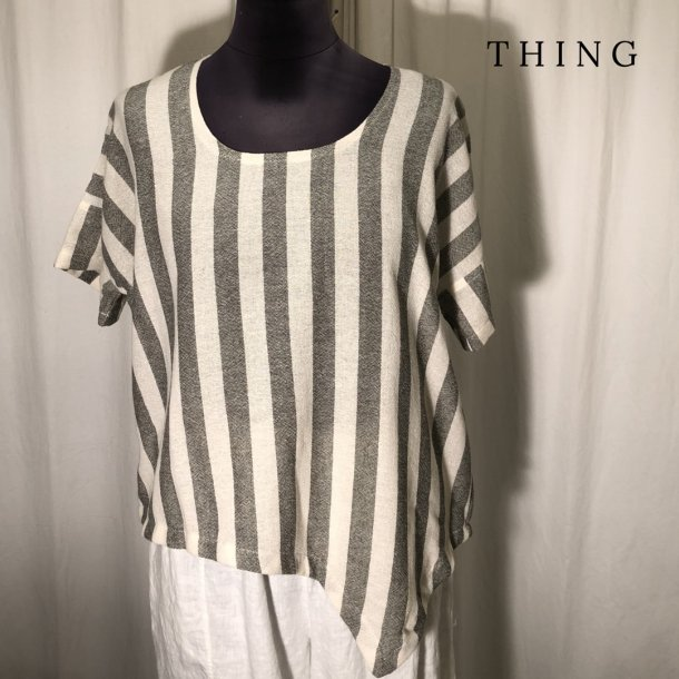 Thing stribet spidsbluse khaki/natur