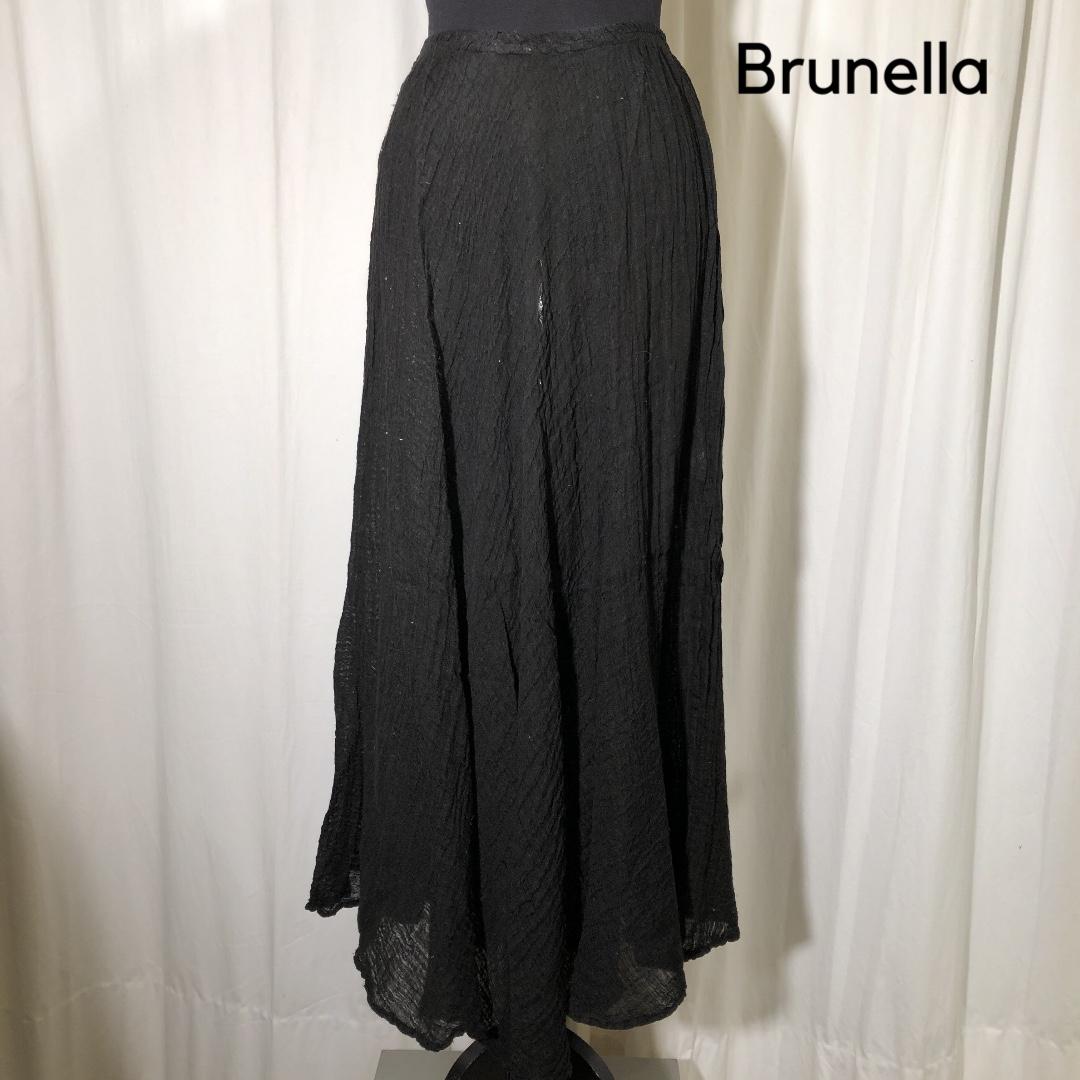 Brunella hør nederdel sort