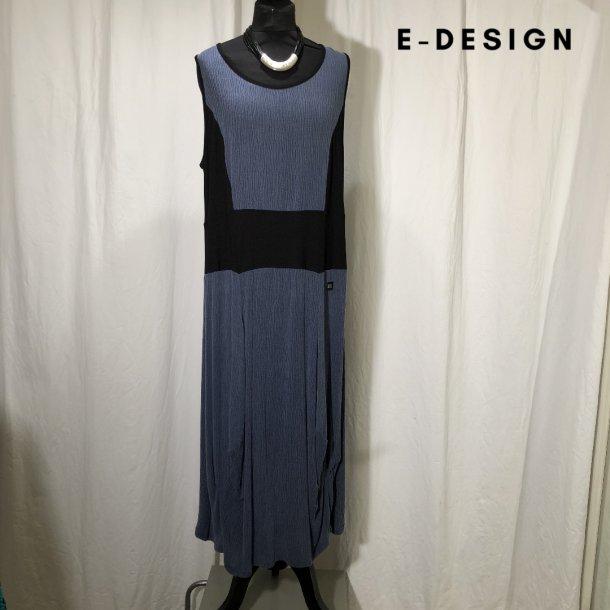 E-Design kjole med indsat stykke støvet blå