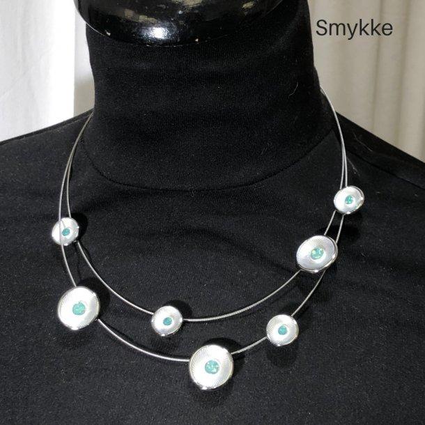 Design smykke dobbelradet wire cirkel sølv/grøn